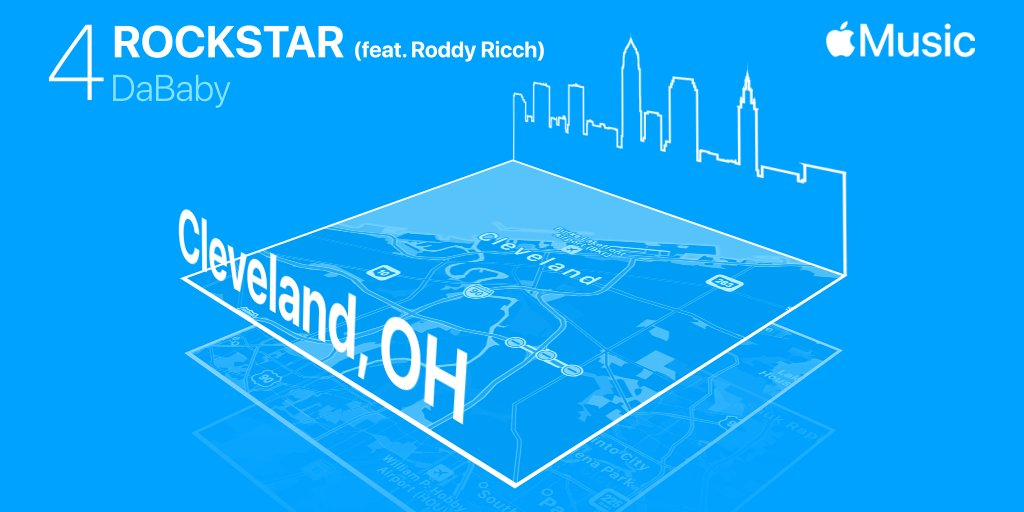 #Rockstar by @DaBabyDaBaby was first discovered with Shazam in Cleveland, OH & is number 4 on @AppleMusic's Global Top 100 of 2020: