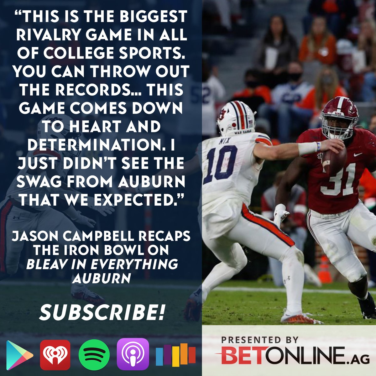 Former Auburn QB @JCam_17 was hoping for more from his Tigers in the Iron Bowl. Hear his thoughts on the tough loss on Bleav in Everything Auburn with host @taylorbethdavis - presented by @betonline_ag: https://t.co/lg6Q2mrZFg  #WarEagle https://t.co/em9JKzajlW