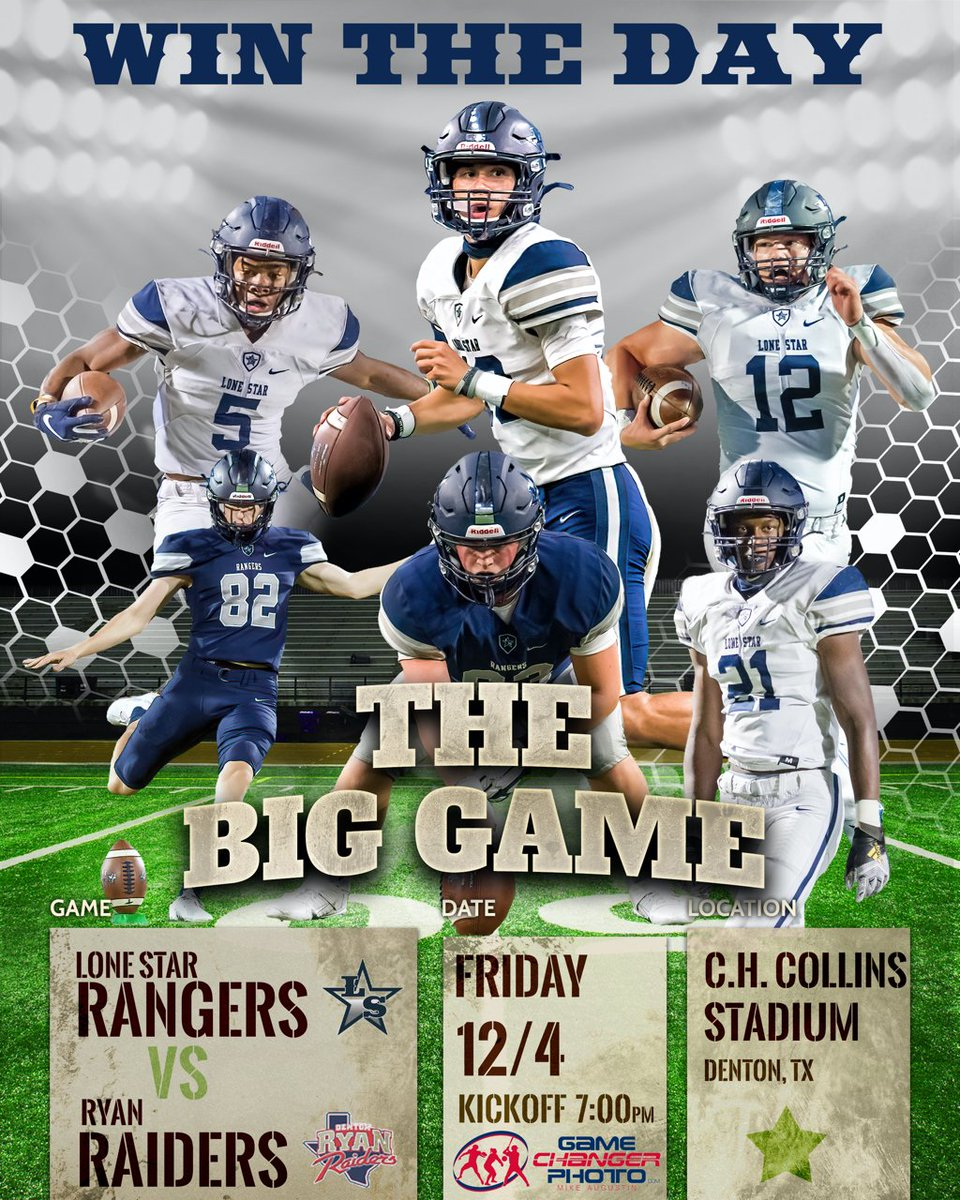 The BIG GAME for DISTRICT TITLE! BE THERE!! @LSHSRangers @CoachJRayburn @LSHSstudsec @LSHS_FBRecruits @LSHSBroadcast @LSHSRangerettes @Friscoisdsports @LoneStarHSCheer @LSHSCheerNation @CollinCountyMag  #txhsfb #WTD #Family #WinTheDay  R/T & Follow!! https://t.co/ZWujOiN1lB