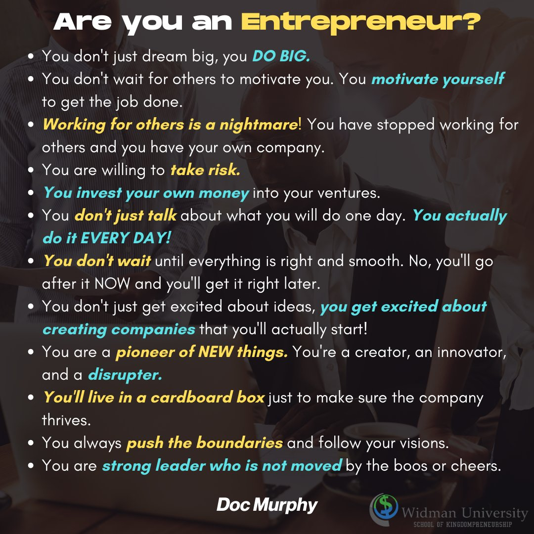 Are you an Entrepreneur? Take the test. BTW it's ok if you're not. Don't lie to yourself. #entrepreneurs #pioneers #disrupters #businessowners #pushingboundaries #innovators #toughskin #leaders