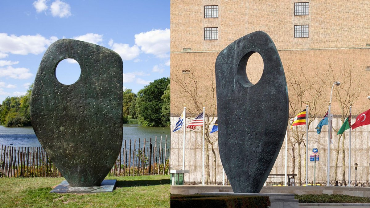 Hello twitter. Here goes #myfirsttweet arriving @UN.   Taking breaks from my preparations to come here, I often ran past this Barbara Hepworth sculpture in London's Battersea Park, dedicated to Dag Hammarskjold. Another sits at UN HQ. A reminder and inspiration as we mark #UN75🇺🇳