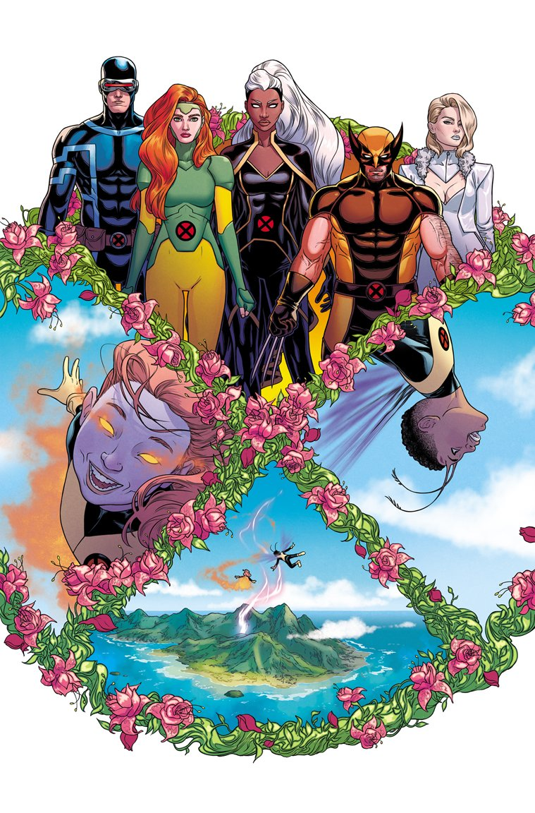 I wanted both of my GIANT-SIZE X-MEN issues to start with a graphic X layout. JEAN + EMMA's is circular and flowery — meant to portray Krakoa as a mutant paradise. STORM's is angular and stiff, with circuitry behind — trying to get across a claustrophobic and robotic feeling. ❌