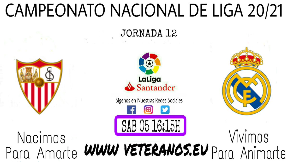 ⚠ PROXIMO PARTIDO ⚠ 🏆 @LaLiga ✔ Jornada 12 ⚽ @SevillaFC 🆚 @realmadrid 📆 Sabado 05 🕒 16:15h 🏠 Ramón Sánchez Pizguan 📺 @movistarplus (Audio #RMTV) #RMLiga #VeteranosHalaMadrid 🔝 💪 #NacimosParaAmarte #VivimosParaAnimarte