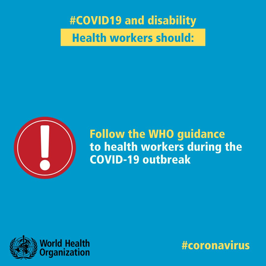 All #HealthWorkers, including those providing support to people with disability should follow the WHO guidance to 👩⚕️ 👨⚕️ during the #COVID19 outbreak.    👉