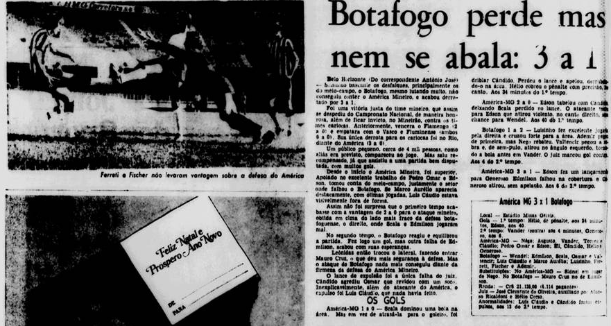 1972:  Em jogo que pouco valia para efeito de Brasileirão, o Botafogo foi derrotado pelo America-MG, no Mineirão, por 3x1. Mesmo assim, fechou a 1a fase como 3° do Grupo C, se classificando para a segunda fase, onde estaria no Grupo 4, com Santos, Gremio e Santa Cruz. https://t.co/NwPEjiqLva