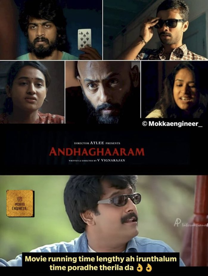 Each nd every character should gave their best performance particularly that doctor nd teacher characters👌super ah use panirukanga total cast nd crew 👌hats off to @vvignarajan nd his team🙏🏻👍do more movies like this😇kudos to @Atlee_dir nd @priyaatlee for #Andhaghaaram 🔥