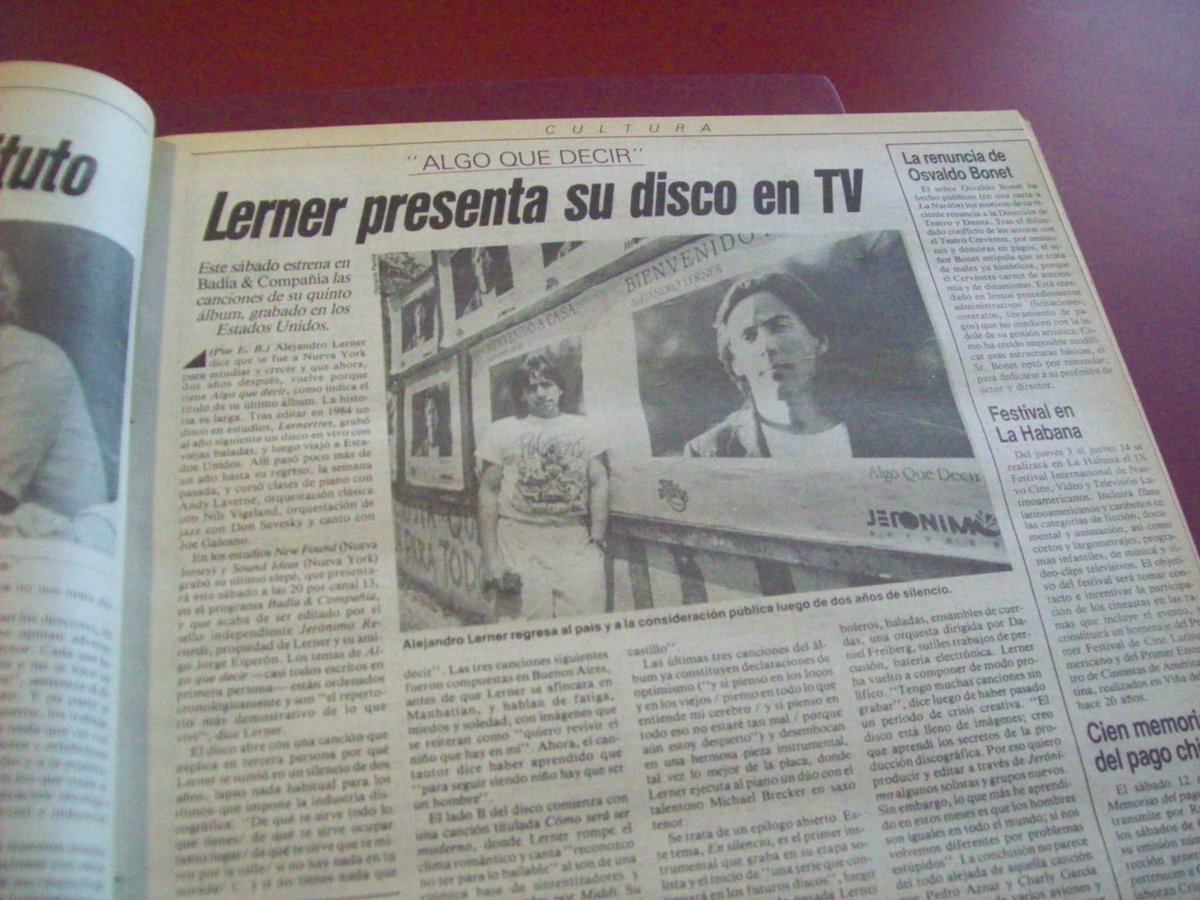 Alejandro Lerner presenta su disco en Badía y Compañía. Diciembre de 1987. https://t.co/Bdh4u4ROxy
