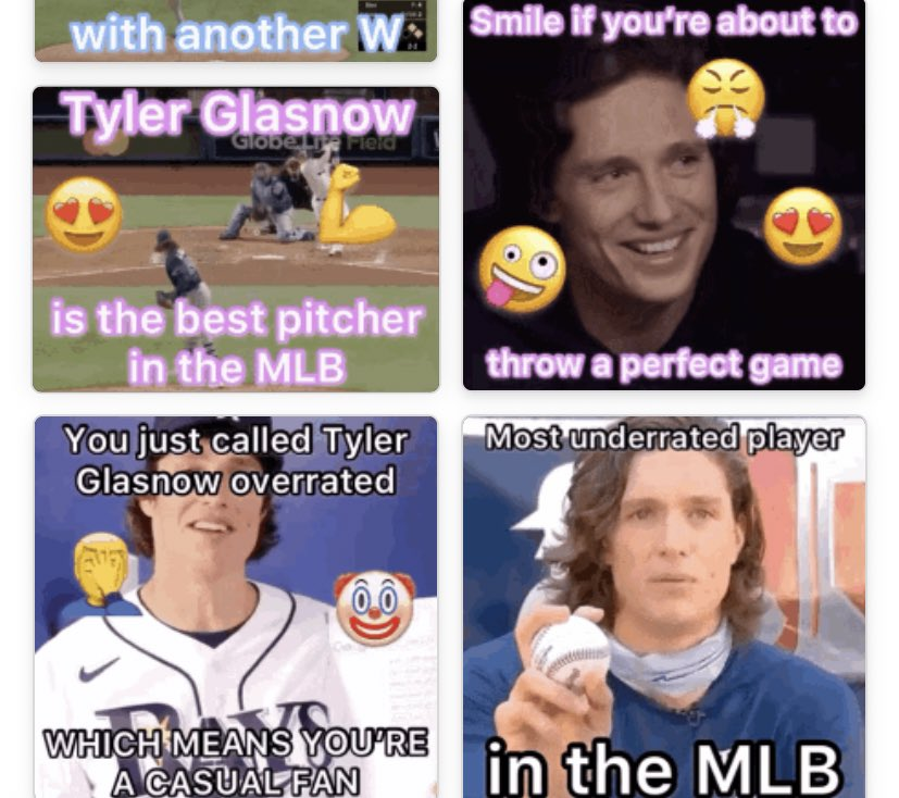 @RaysBaseball Hello atRaysBaseball. I very much dislike your team, but I am a big fan of that pitcher named Glasnow that plays for you. I even made all these gifs and created a Tyler Glasnow Fan Club! Is this enough to receive a like from you? 🙏🤞 https://t.co/4mSUUQhxvA