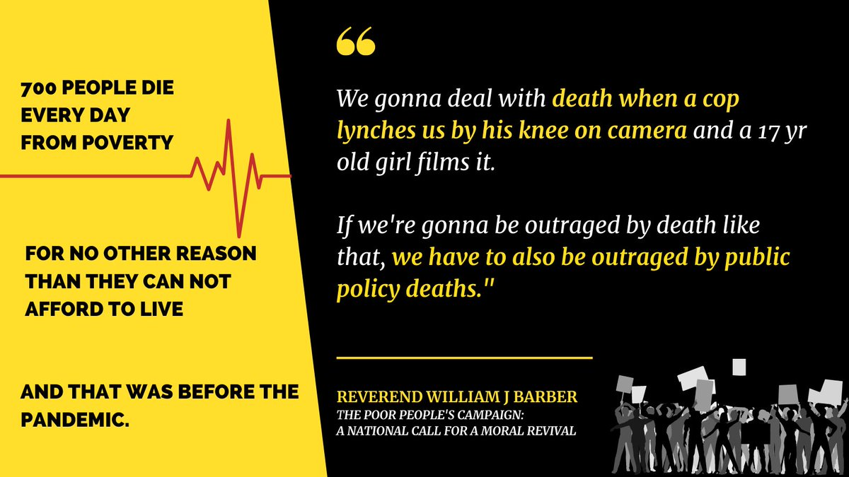 """""""We gonna deal w/ death when a cop lynches us by his knee on camera & a 17-yr-old girl films it. If were gonna be outraged by death like that, we have to also be outraged by public policy deaths. @RevDrBarber Check out the full interview on @FoxSoulTV: foxsoul.tv/the-black-repo…"""