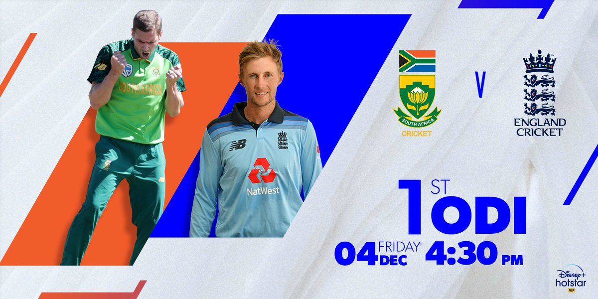 After a staggering T20 series, it is time for the ODIs. Will South Africa dominate on their home ground or will England have the last laugh?  Find out today at 4.30 pm. #SAvsENG  @OfficialCSA @englandcricket