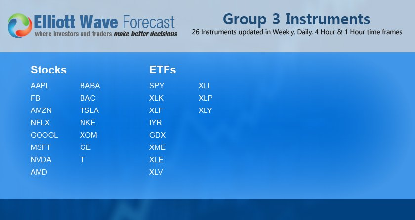 1 hour charts for the Group 3 instruments are available for members viewing..  #ElliottWave #Stocks #ETF's #AAPL #FB #XOM #TSLA #SPY #AMD #NFLX #NKE #IYR #AMZN #XLE #XME #BAC #BABA #GOOGL #GDX #XLK #XLF #T #NVDA #MSFT