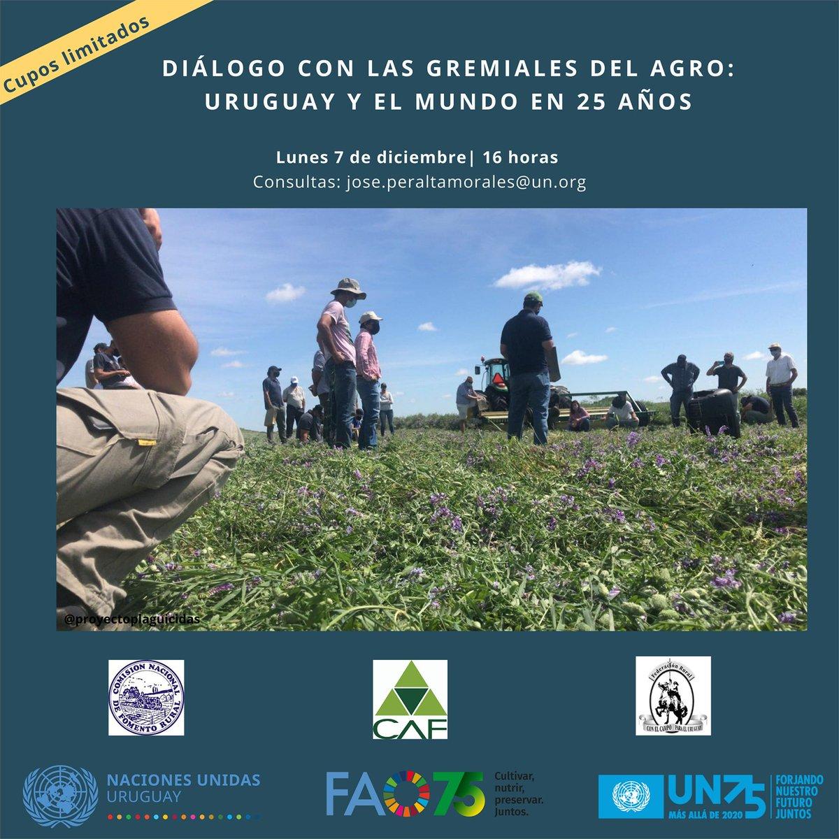 📢 Diálogo con las gremiales del #agro   🗨️ Los sistemas agroalimentarios que construimos juntos🌱  @CAFUruguay, @federacionrural y Comisión Nacional de Fomento Rural #CNFR con @ONUUruguay y @FAOUruguay  🗓️lunes 7/12⌚16h🇺🇾 📝Para participar👇🏼  #UN75 #FAO75