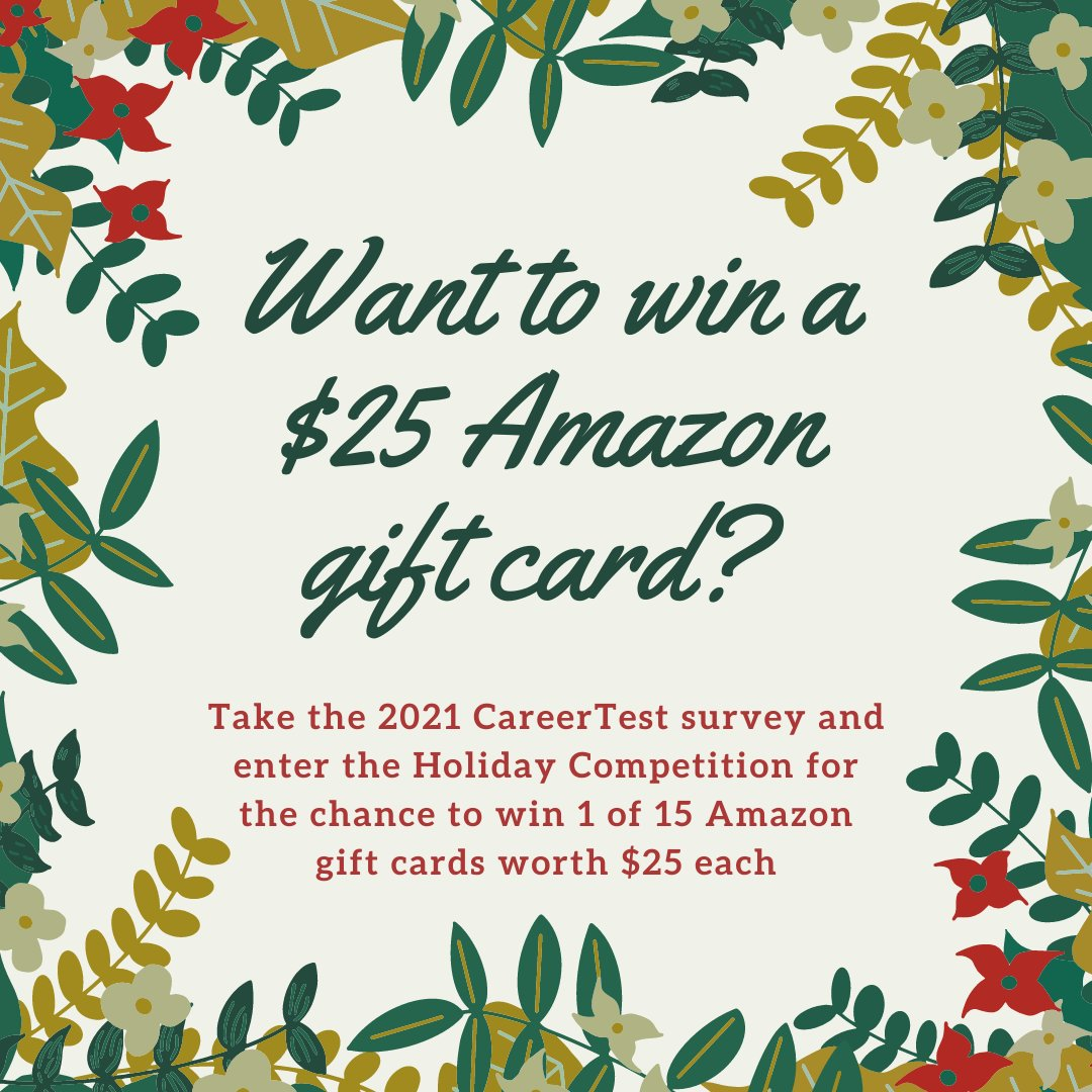 Badgers! To mark this holiday season, CareerTest is hosting a Holiday Competition! From now until January 10th, you can complete the survey for the chance to win 1 of 15 Amazon gift cards worth $25 each!  Complete the survey & enter here: https://t.co/qpsvYEdgrg https://t.co/X5AZFA2ZYb