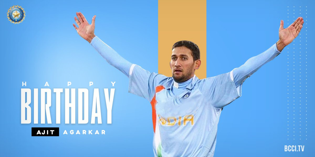 349 international wickets 👍 2007 World T20-winner 🏆 Fastest Indian (Men's) to 50 ODI wickets 👌 Fastest Indian (Men's) to score an ODI fifty 💪  Here's wishing @imAagarkar a very happy birthday. 🎂👏   #TeamIndia