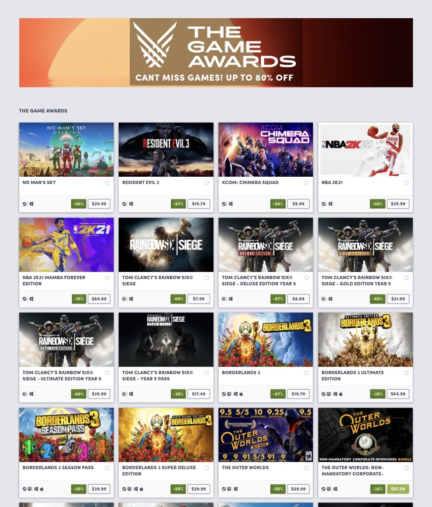 The Game Awards sale on Humble 2