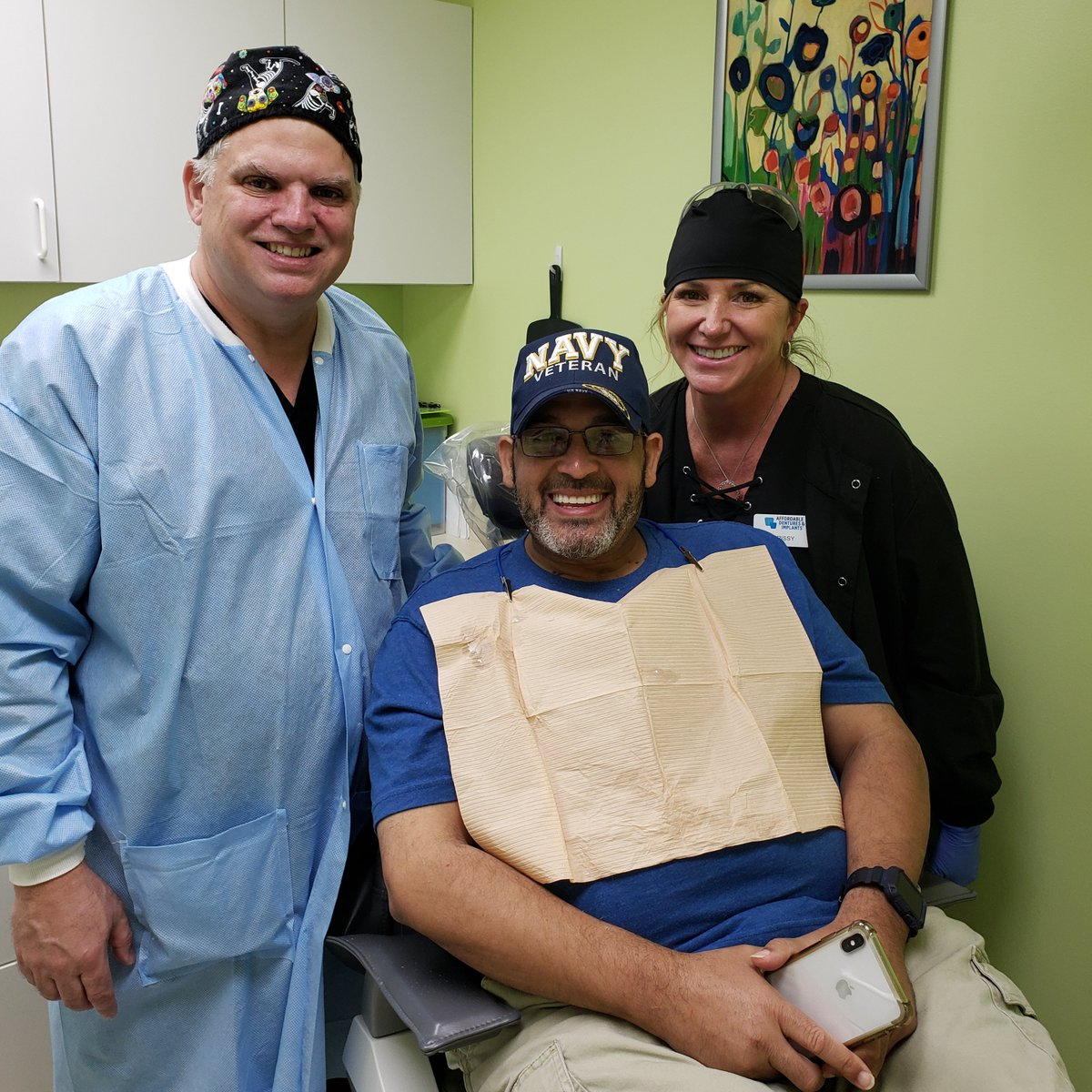 "U.S. Navy Veteran Angel Arieta received the ""gift of a smile"" (free dental care) on #veteransday2020 from Dr. Mike Smith  @LifeatADI Columbia, SC #givingback #changinglives #dentures #dentists Learn more:"
