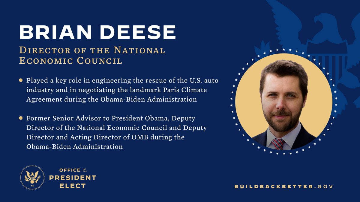 If we are going to tackle the climate crisis, then solutions must be woven into every aspect of our economic policy.  Brian Deese is an economic leader and climate policy expert who will bring his expertise back to the White House as Director of the National Economic Council.