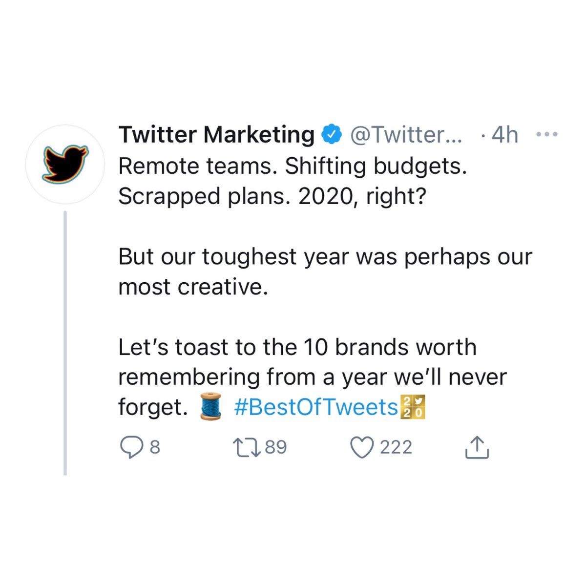 .@TwitterMktg named a campaign I worked on one of 2020's best!  V thankful @Verizon & @RGA let me play in #PayItForwardLIVE - a colossal team effort. We got to work w/ some of my all-time fav artists & even set the record for positive sentiment in Twitter Live.
