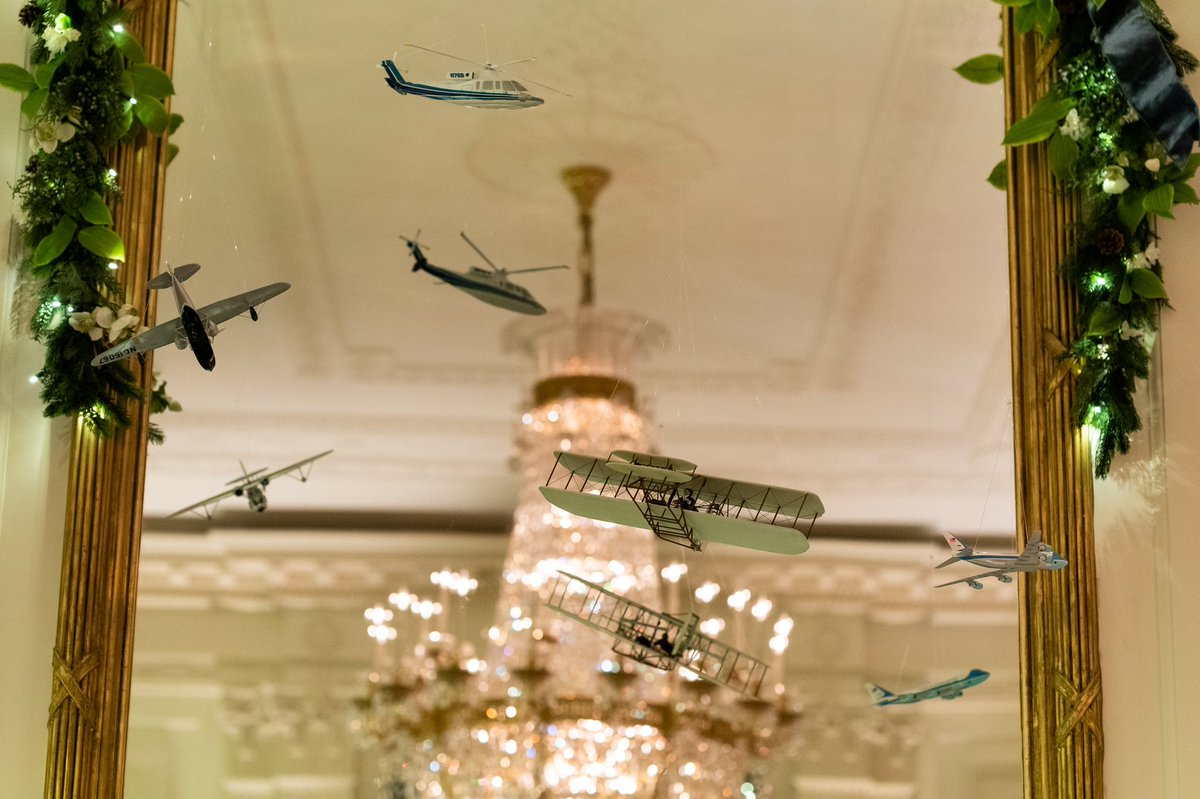 Our country is a pioneer in the fields of innovation & technology & the @WhiteHouse East Room celebrates these monumental triumphs. Planes, trains & automobiles come alive as they race around trees, through the ribbons & between the twinkling lights. #WHChristmas