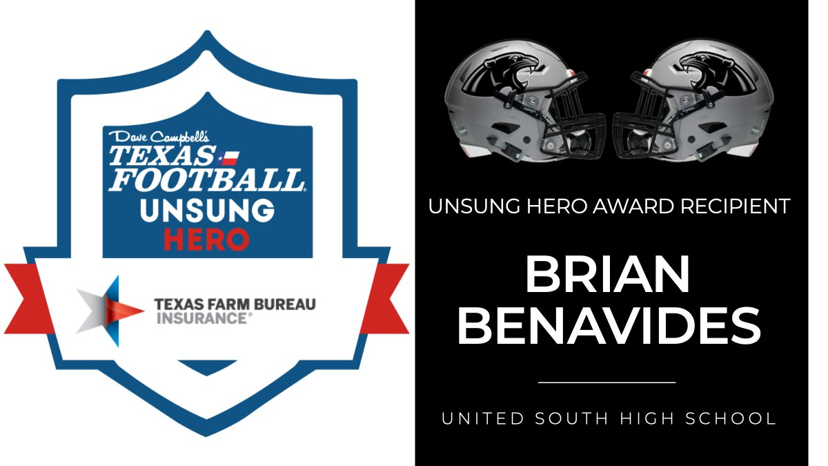 Congratulations to Laredo United South High School's Brian Benavides on being named a 2020 Texas Farm Bureau Insurance Unsung Hero Award winner!  https://t.co/n5q6fwVfvd 🎙️ @Romajesty | #TXHSFB   @TXFBinsurance @UnitedSouthHS @USPanthers @south_ladyball @UnitedSouthVol1 https://t.co/IyyVWEz7p3