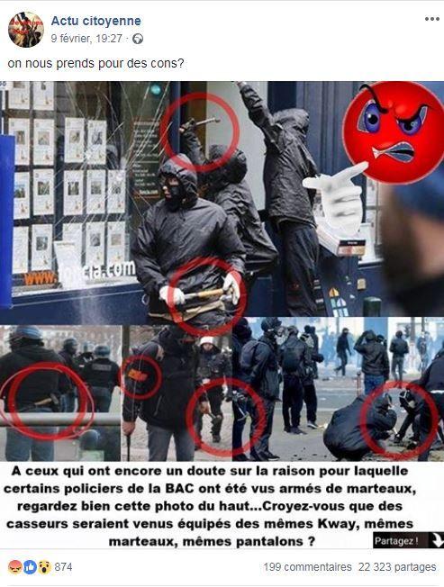 @lemondefr Bonjour Twitter: Le déni n'est plus possible des policier de la #BAC déguisé en #BlackBloc Pierre à la main nous devons demander la dissolutions. #ViolencesPolicieres #COVID19  #GiletsJaunes #FDO  #PlusJamaisLREM