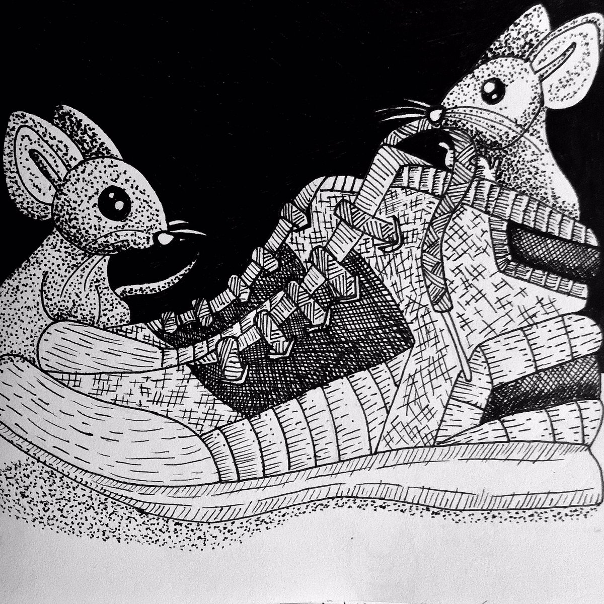 Inktober Week 44 of 52 Prompt: 'Shoes' • These little mice are nestling in a pair of SHOES for the night. • (In the process of catching up on lost Inktober weeks) • • @inktober @jakeparker #inktober #inktober52 #mice #blackandwhite #line #drawing #art #illustration #shoes