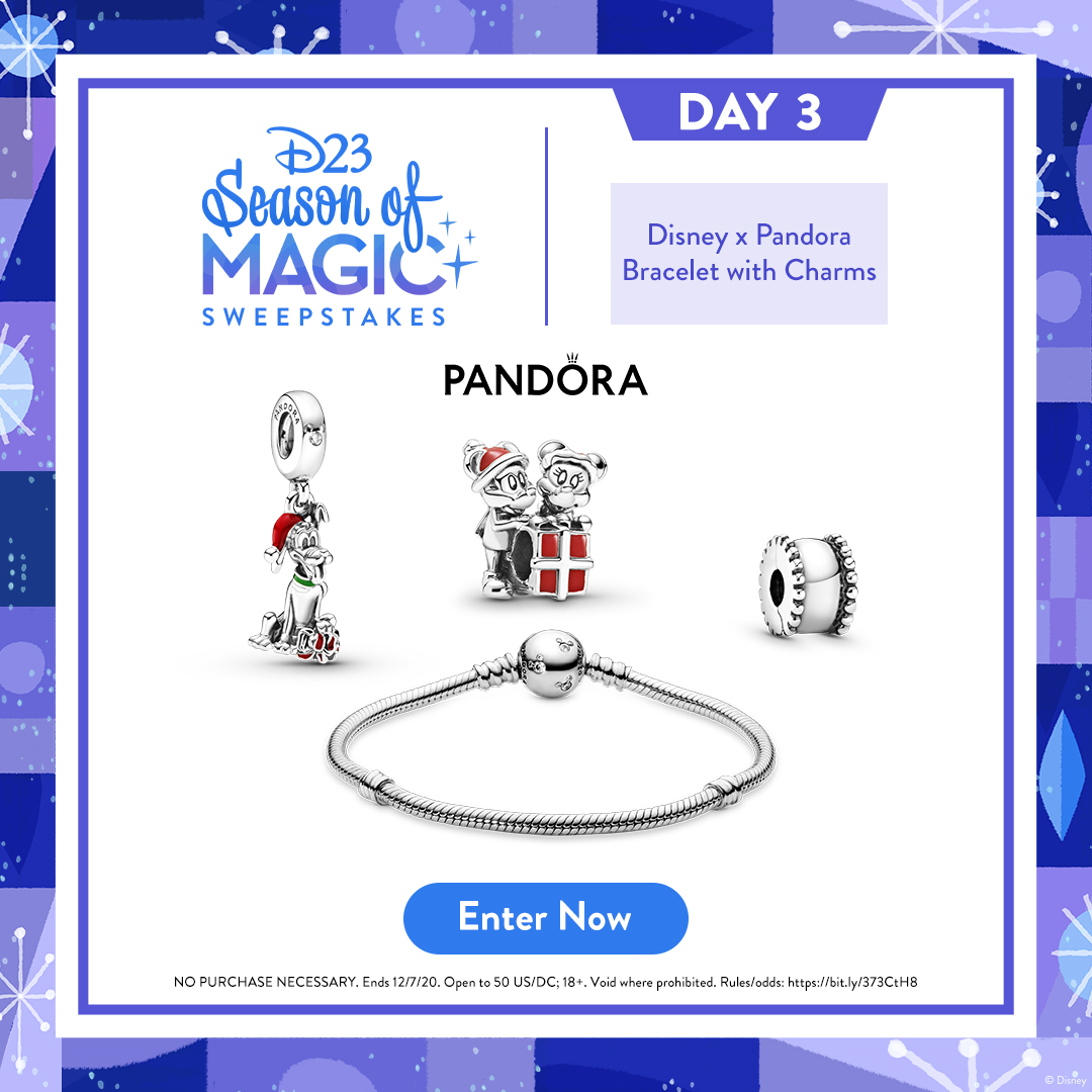 Make the holidays feel extra special with this Disney x Pandora prize pack! Enter for a chance to win:  NO PURC NEC. Ends 12/7/20. Open to 50 US/DC; 18+. Void where prohibited. Rules/odds: