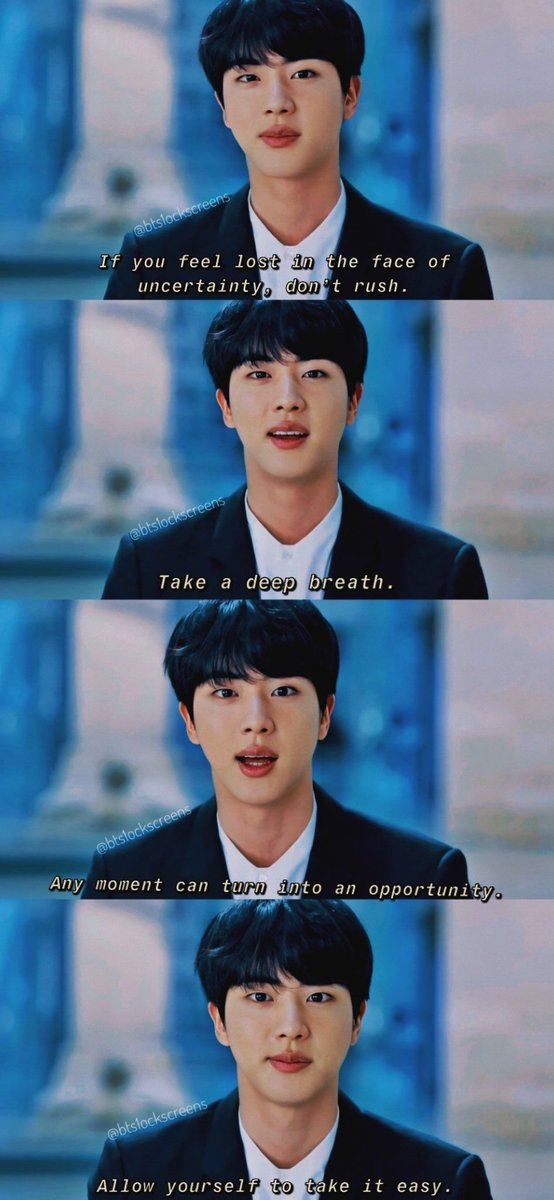 """✨""""Allow yourself to take it easy. Take it one step at a time. Everyone has their own pace. Go on your own pace, Steadily.""""💜  #HappyBirthdayJin #OurDecemberMiracle #HAPPYJINDAY  #CrystalVoiceJin  #AbyssByJin"""