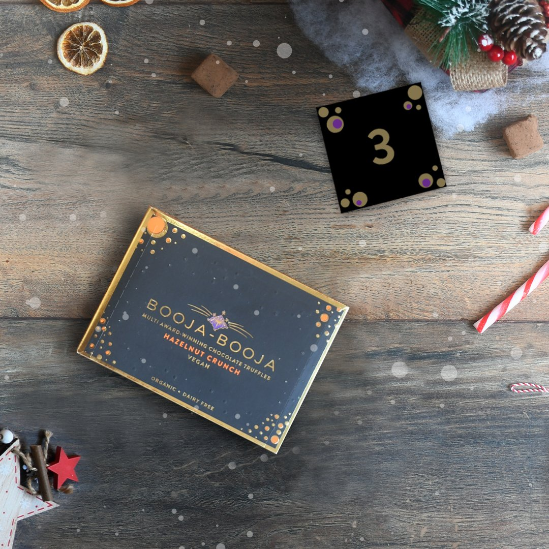 *WIN* Hazelnut Crunch Chocolate Truffles on DAY 3 of the #BoojaBooja #AdventCalendar. To enter, follow us & RT with #Boojaadvent3 telling us what makes you go nuts at Christmas. Winner will be picked tmw from all our soc media channels #vegan #organic #dairyfree #feelingfestive https://t.co/CqZdPOcq5Y