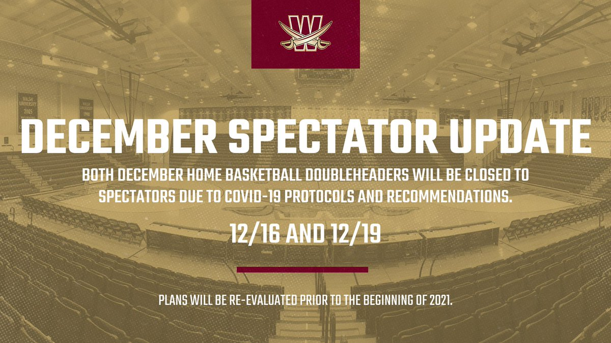 BREAKING: Due to COVID-19 protocols and recommendations, all December home basketball games will be spectator-free. Plans will be re-evaluated for January home events. December games will be streamed on the #GreatMidwest Digital Network.  https://t.co/gAzyTC8s5b https://t.co/nPBmLzmVJt