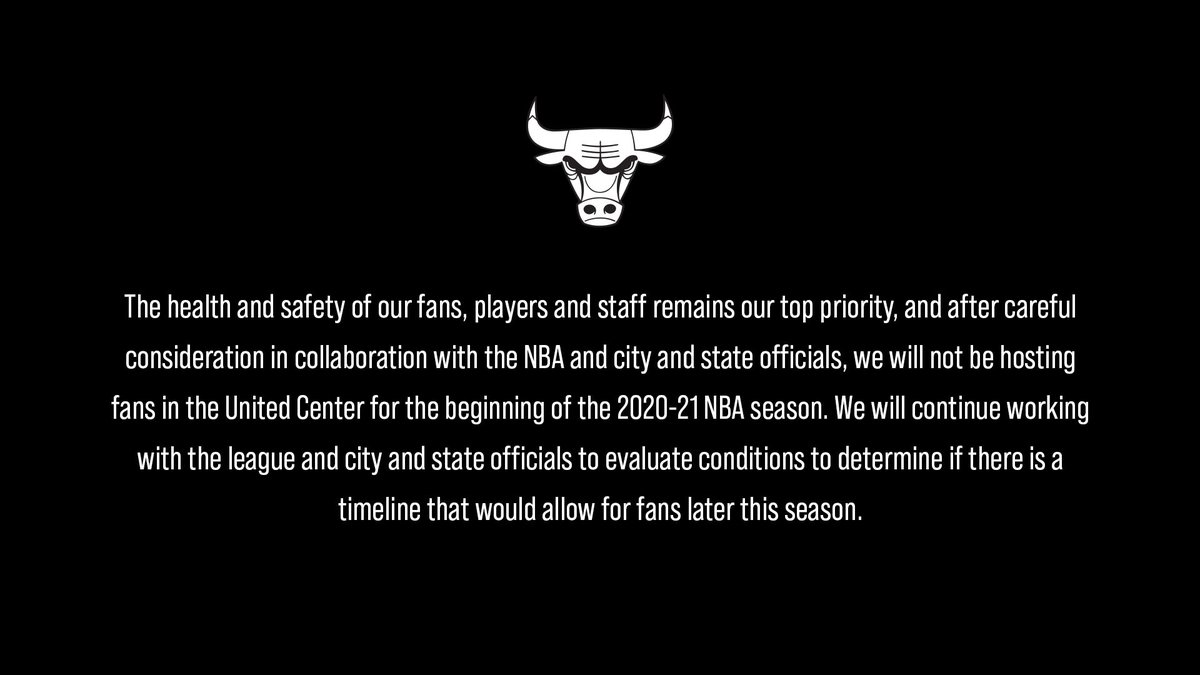 Bulls Nation, we will miss seeing you when we take the court later this month. There is no greater feeling than playing in front of you at the @UnitedCenter but right now, following all recommended health and safety guidelines is most important. https://t.co/1PJgoSUyUy