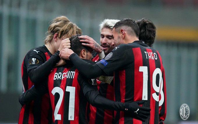 Selebrasi pemain AC Milan setelah Brahim Diaz cetak gol