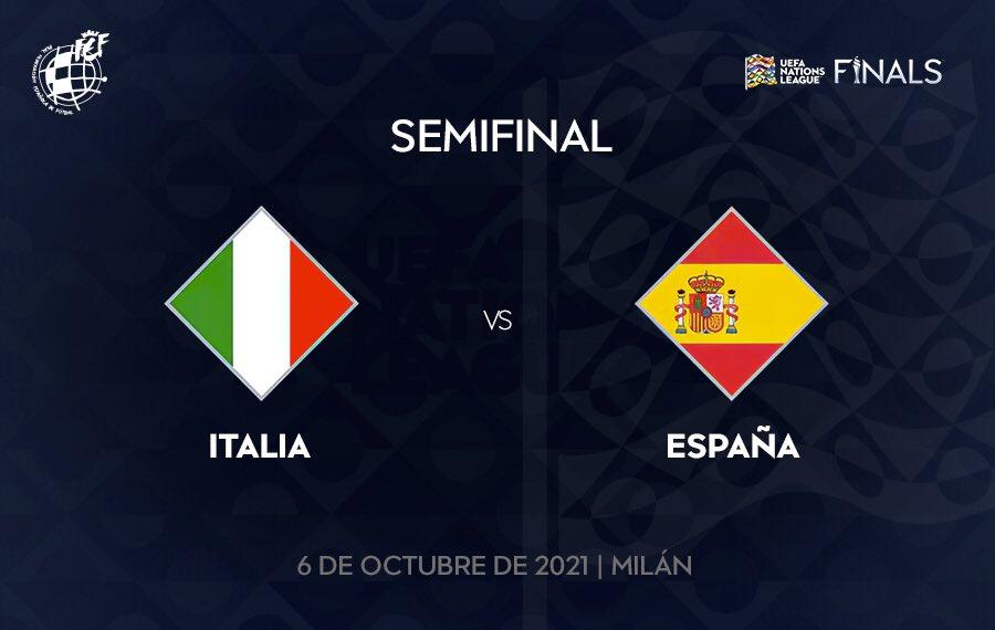 ✍🏼 ¡¡¡APUNTA LA FECHA!!!   🆚 La @SeFutbol disputará las semifinales de la #NationsLeague ante @Vivo_Azzurro el día 6 de octubre de 2021 en Milán.   🏆 La gran final del torneo tendrá lugar en la misma ciudad el domingo 10 de octubre.   #SomosEspaña  #SomosFederación
