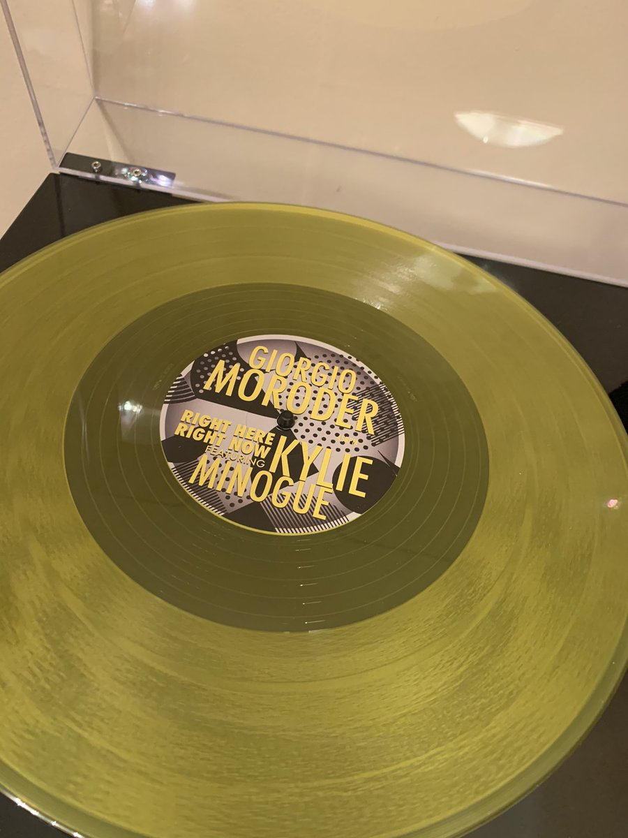 "My #RSD20 purchase finally arrived. Sold out so quickly 1st time, was not easy to find! Glad I got the yellow version 💫  12"" of Right Here Right Now by Giorgio Moroder and @kylieminogue (2015) - Gorgeous! 💛"