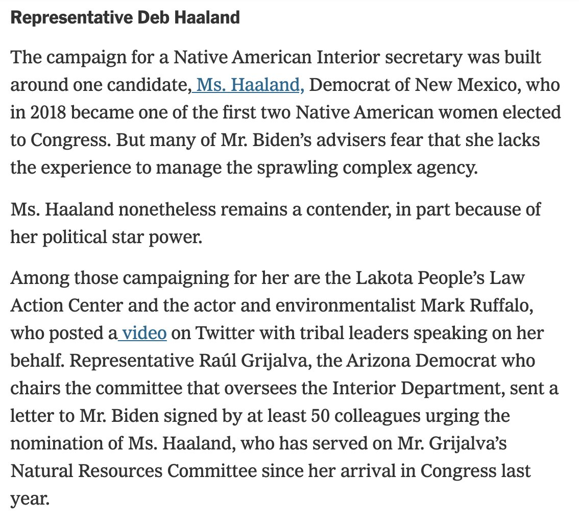 These Times reporters and their anonymous sources should look into Rep. Haalands legislative record (bit.ly/36HrOTD) - Most bills with bicameral support - Most bills led and co-sponsored by House freshmen - Top leader of House freshmen nytimes.com/2020/12/03/cli…