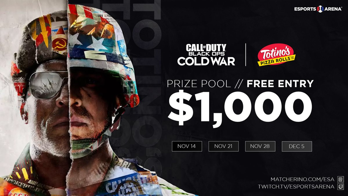 EsportsArena - Totino's Cold War Tournament Series 🏆2 Call of Duty Black Ops Cold War Tournaments Left! 🏆12/5 & 12/12 🏆$1000  🏆Free Entry  Sign up here:   Tag your COD friends! @totinos #TotinosPowerSquad #PowerSquad