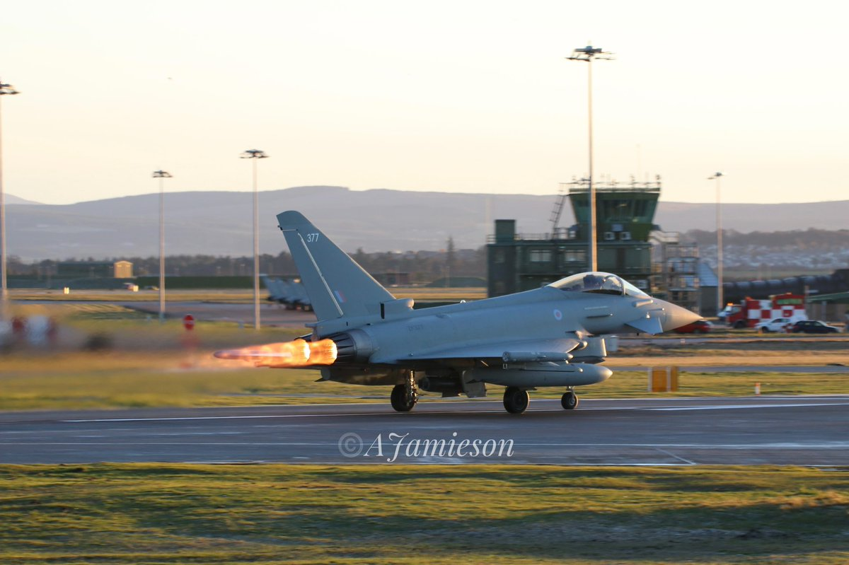RAF Typhoon ZK377 take off from @RAFLossiemouth this afternoon #raf #teamlossie #neampr #typhoon #raflossiemouth