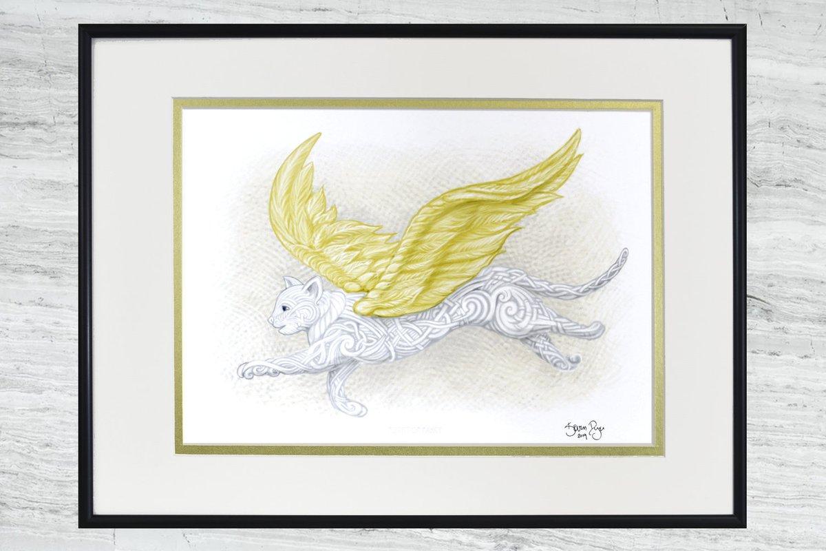 """Flight of Fancy - Framed Digital Print - 12"""" x 16"""" -Flying Cat - Cat Angel https://t.co/f6kE3JQOxY #Art #giftideas #CatHeaven https://t.co/eY8eHtFCap"""