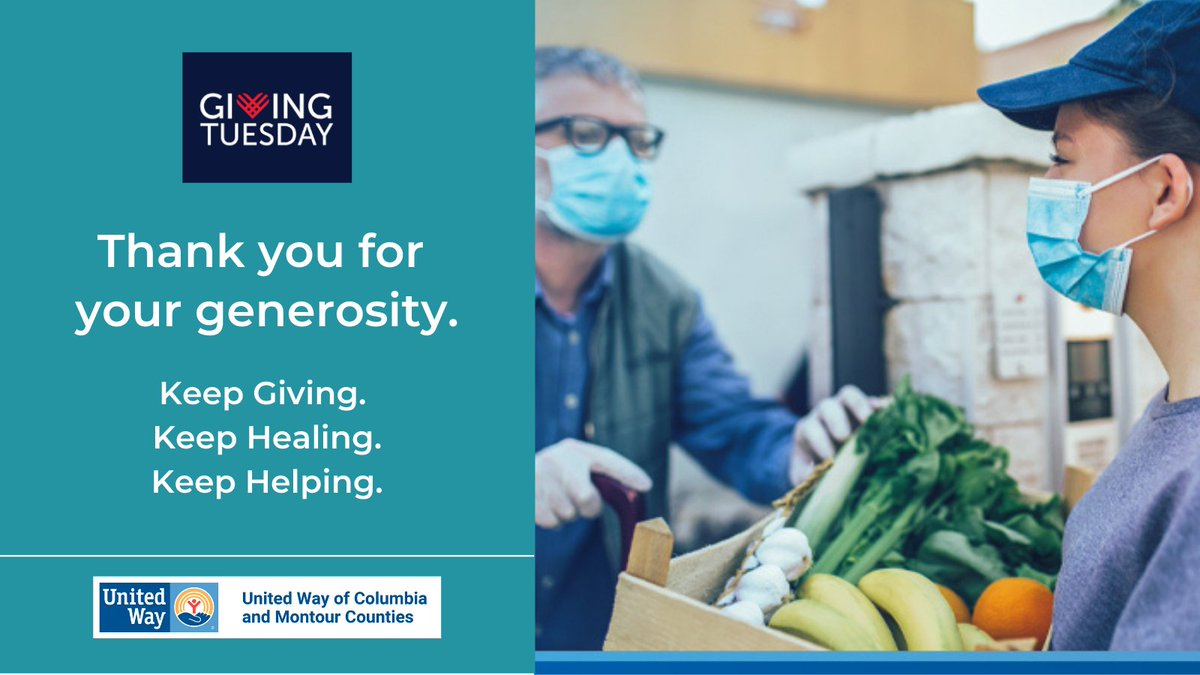 Thank you for your generosity during GivingTuesday. Keep giving. Keep healing. Keep helping. Because united we'll put the world back together - not the way it was, but the way we want it to be. LIVE UNITED.  #ThankYou #GivingTuesday #UnleashGenerosity #LIVEUNITED