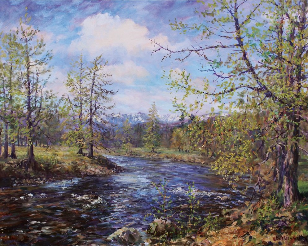 #RoyalDeeside landscape of #RiverDee coming down from #Braemar in #CairngormsNationalPark #Signed #limitededition #giclee #print #artist #HowardButterworth. #springtime #mountains #sundaythoughts #sundayvibes #artistontwitter #scottishfineart #landscape #art  #NE250 #cairngorms
