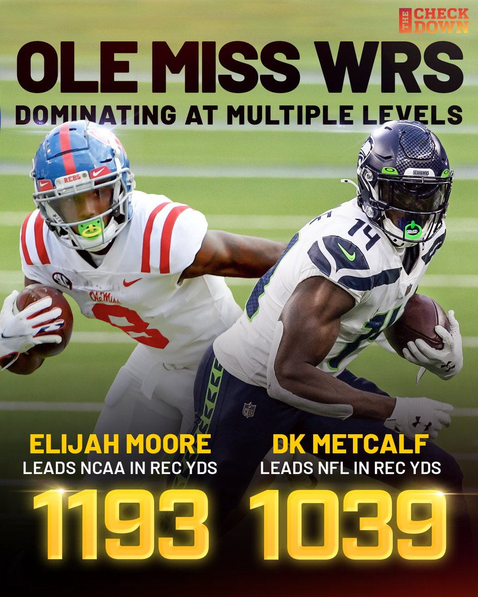 Ole Miss WRs are leading the FBS and NFL in receiving yards 🔥 @e_moore03 @dkm14 @Seahawks   (h/t @OleMissFB)