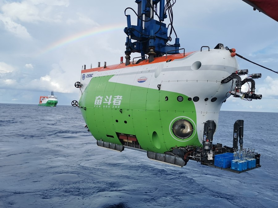 China's #deepsea manned #submersible #Fendouzhe, or #Striver, returned to Sanya in south #China's #Hainan province on Nov. 28, after completing 10,000-meter #sea trials.
