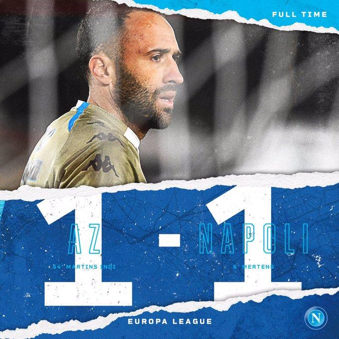 ⏱ 90+3 | Full time ⏹  #AZNapoli 1-1  💙 #ForzaNapoliSempre