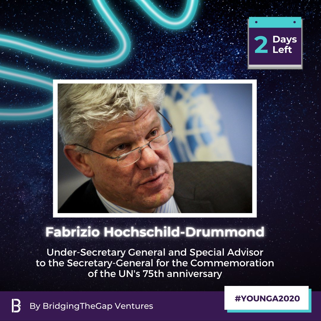 #YOUNGA2020's Dec 5 Global Broadcast is only two days away! Don't miss @HochschildF, Special Advisor to the Secretary-General for the commemoration of #UN75, discuss how #YoungLeaders are crucial to creating a more sustainable future:        #BridgingTheGap