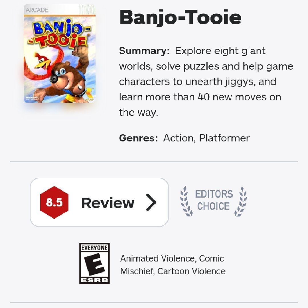 Ign thinks banjo-tooie (#banjotooie) is worse than overwatch