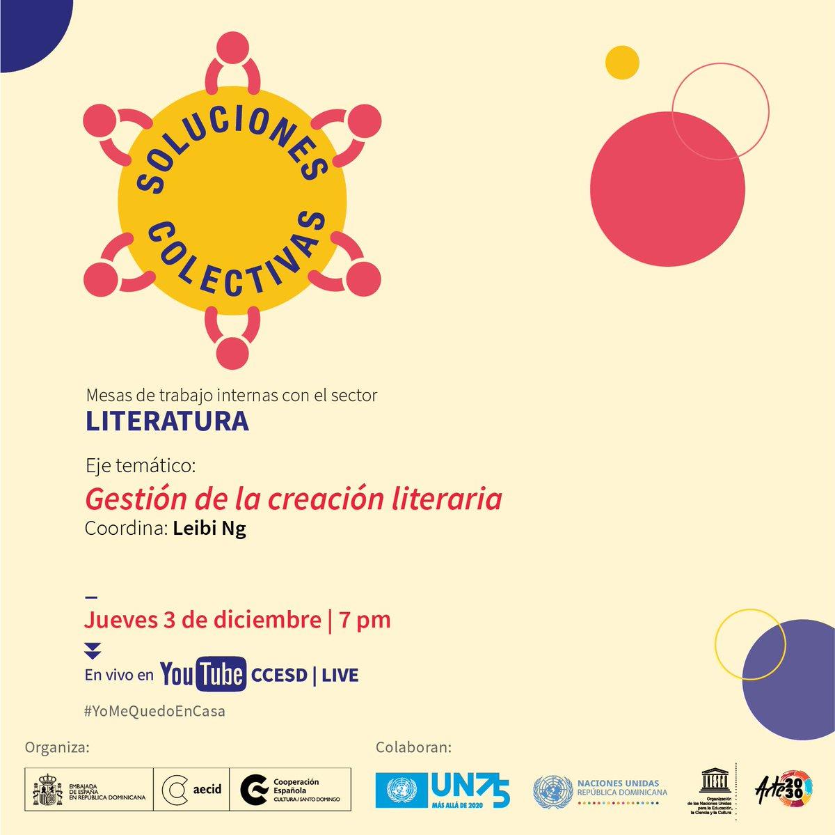 En 15 mins comienza el 3er eje de este encuentro para diagnosticar y hacer propuestas para el sector literario, frente a la crisis provocada por el Covid. Te esperamos en nuestro canal:  ccesd #UN75, #ONU75 #literaturadominicana #solucionescolectivas