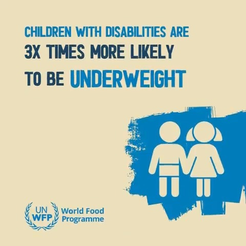 Children with disabilities are 3x times more likely to be underweight and nearly 2x more likely to experience stunting and wasting.   We cannot achieve a world with #ZeroHunger without inclusive and equitable social protection for all.  #IDPD2020 #DisabilityInclusion