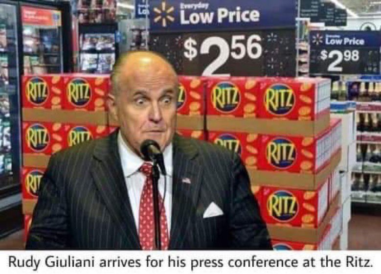 @nataliewsj BREAKING: Rudy Giuliani amd trump legal team plan to file suit claiming the vote was rigged. Press conference will be at the Ritz ....... Cracker aisle. https://t.co/gscH0VCerY