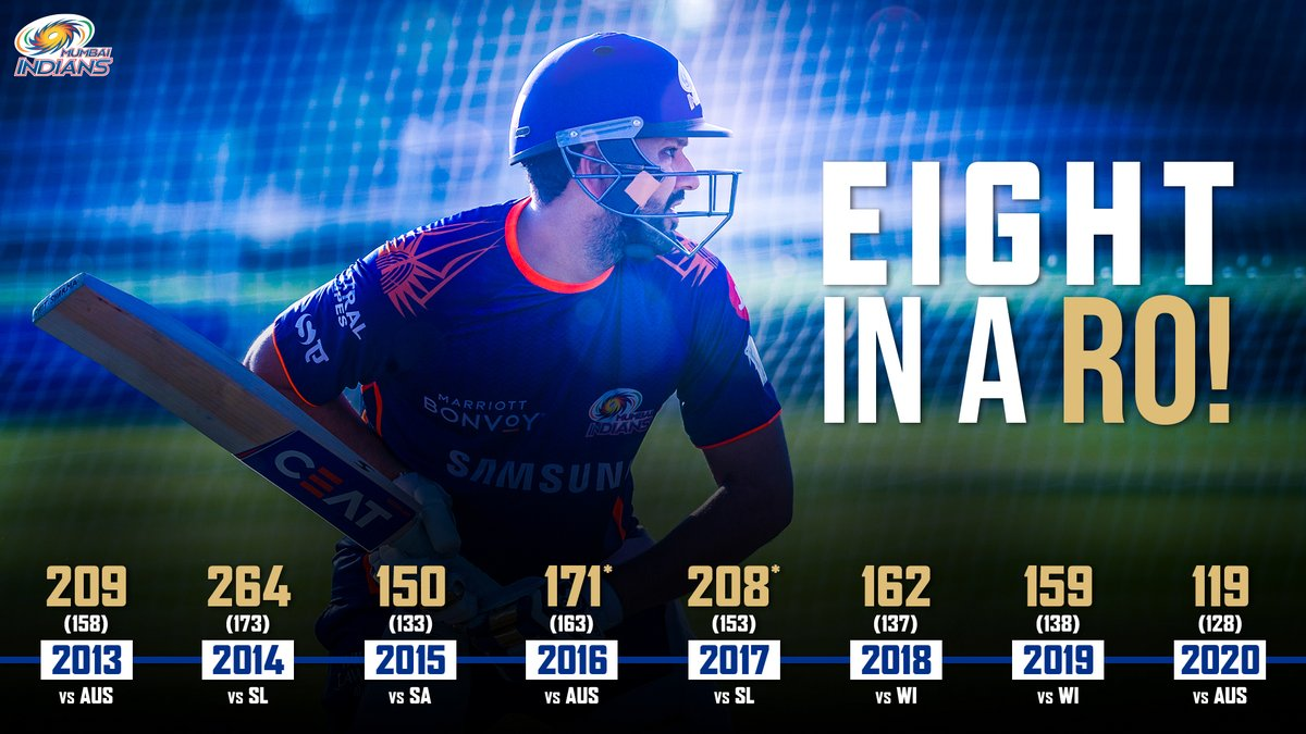 🐐😍👏  For eight years straight, Ro has registered the highest individual ODI score for #TeamIndia 🇮🇳  #OneFamily #MumbaiIndians @ImRo45