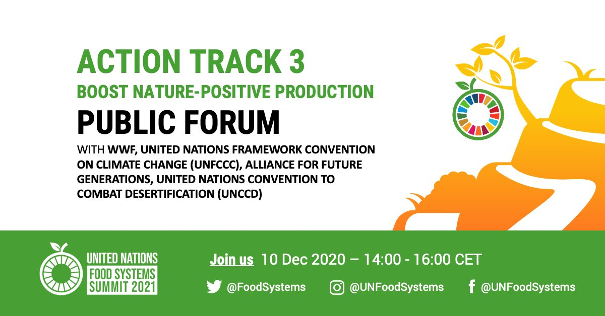 Action Track 3 focuses on nature-positive production systems to secure healthy and nutritious food for the 🌎  REGISTER NOW for the @FoodSystems Summit Action Track 3 Public Forum with @WWF @UNFCCC @afgfiji & @UNCCD 👇  📅 10 Dec 🕑 2pm CET ✍️